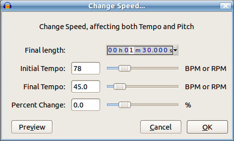 Proposed Change Speed interface