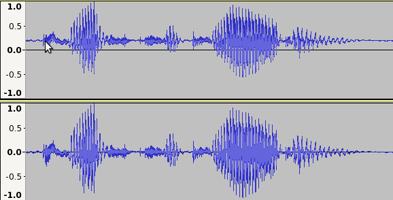 Amplified track with DC offset before and after correction