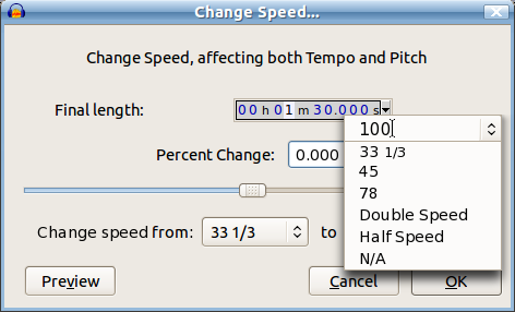 Proposed Change Speed interface with combo boxes