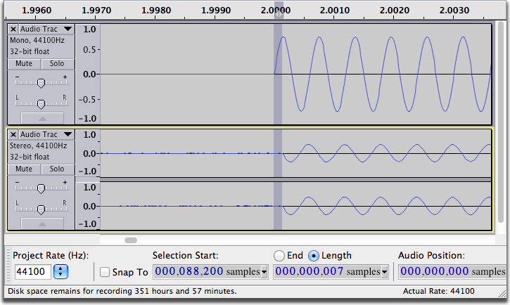 Audacity Project with no latency - Mac OS X screen shot