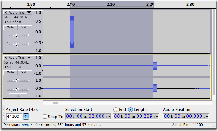 Audacity Project with latency - Mac OS X screen shot