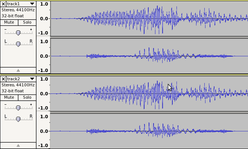 Stereo tracks showing lower Right channel amplitude