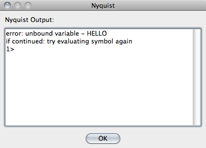 Window displaying Nyquist error: unbound variable