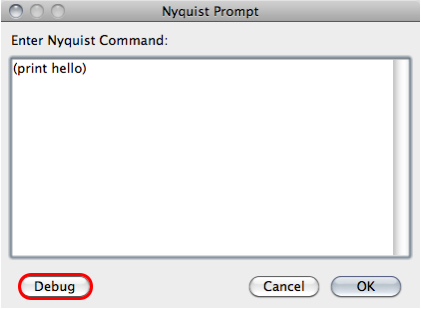Audacity Nyquist prompt window print with unquoted hello