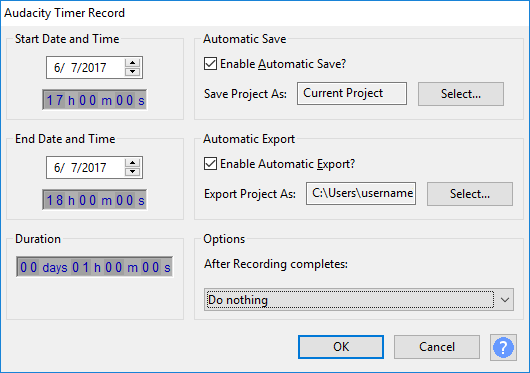 Timer Record W10 setup dialog with save and export.png