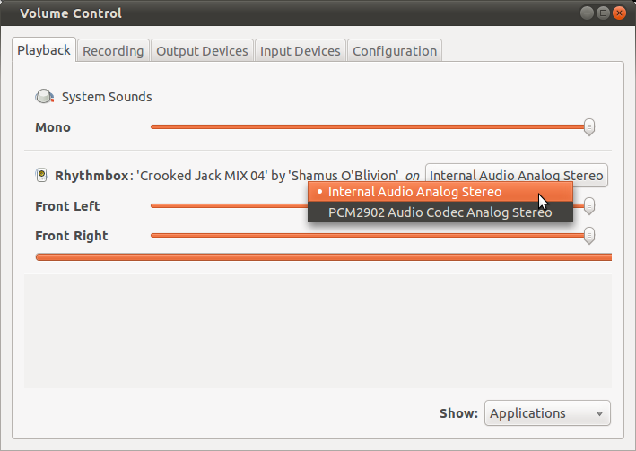 Selecting the playback device in PulseAudio