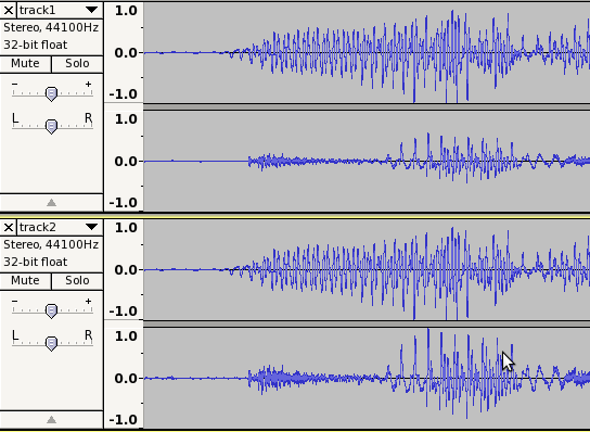 Contrast between amplifying and normalising stereo tracks having lower Right channel amplitude