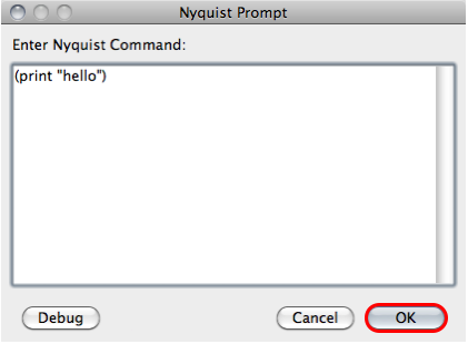 Audacity Nyquist prompt window print with quoted hello